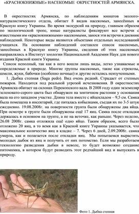 «КРАСНОКНИЖНЫЕ» НАСЕКОМЫЕ  ОКРЕСТНОСТЕЙ  Северного Крыма, г. АРМЯНСКА.