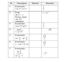 9_Тригонометриялық өрнектерді түрлендіру_1_Нұсқа 1