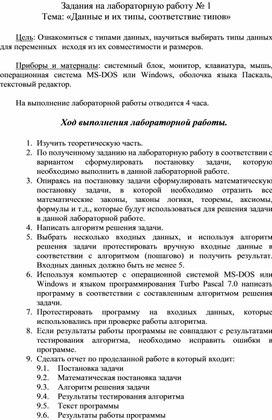 Тема «Данные и их типы, соответствие типов».doc