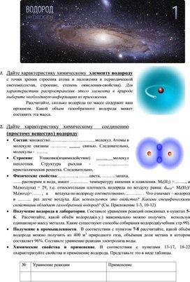 """Изучение темы """"Водород"""" (9 класс, химия)"""