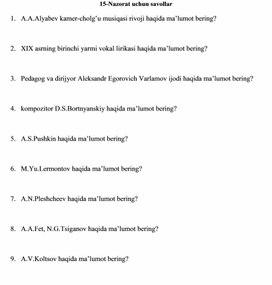15-Nazorat uchun savollar