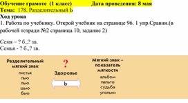 Поурочное планирование по обучению грамоте ( 1 класс)