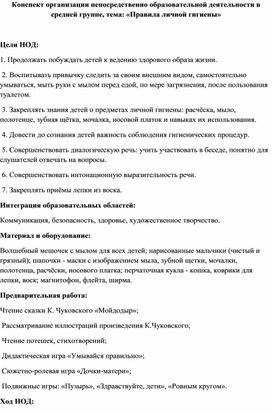 Конспект организации НОД в средней группе, тема: «Правила личной гигиены»