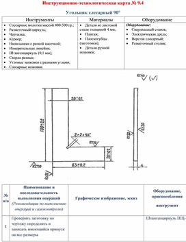 Инструкционно-технологическая карта № 9.4  Угольник слесарный 90°