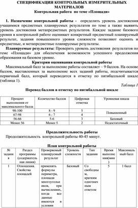 Спецификация  контрольной работы : «Площади»