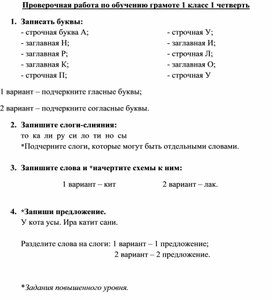 Проверочная работа по русскому языку в период обучения грамоте (1 класс)