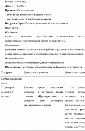 """Конспект урока """"Типы экономических систем"""", 8 класс"""