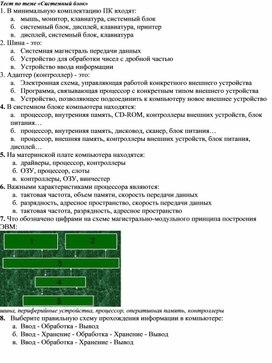 Тест по теме «Системный блок».doc