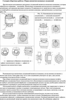Сборка шпоночно-шлицевых соединении
