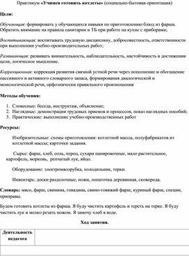 Практикум «Учимся готовить котлеты» (социально-бытовая ориентация)