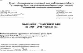 Календарно-тематический план учебной дисциплины Эффективное поведение на рынке труда