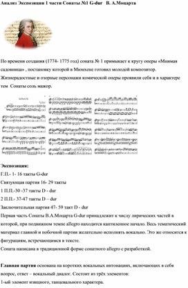 Анализ Экспозиции 1 части Сонаты №1 G-dur   В. А.Моцарта
