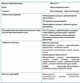 """Урок на тему """"Металдардың қышқыл ерітінділерімен әрекеттесуі."""" ( Химия)"""