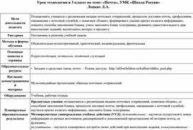 Урок технологии в 3 классе по теме: «Почта», УМК «Школа России»