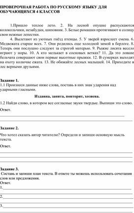 Проверочная работа по русскому языку  для 4 класса