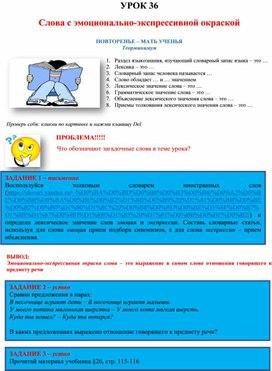 Слова с эмоционально-экспрессивной окраской. Материалы для изучения темы. 5 класс. Русский язык