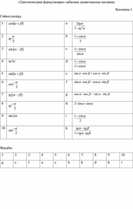 №9 сабақ Дидактикалық материалТригонометрия форvулалары
