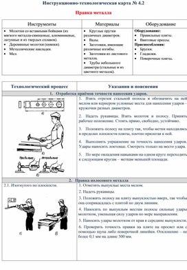 Инструкционно-технологическая карта № 4.2  Правка металла