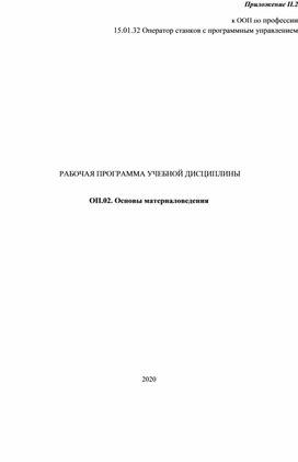 Рабочая программа учебной дисциплины Основы материаловедения.