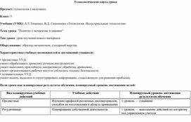 """Технологическая карта урока """"Понятие механизма и машины"""" 5 класс"""