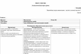 """Технологическая карта урока """"Обыновенные дроби"""""""