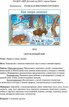 """Конспект НОД """"Звери и птицы зимой"""" 2 младшая  группа комбинированного типа"""