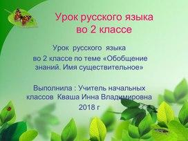 Конспект урока  по  русскому  языку  2 класс  Обобщение знаний по теме.
