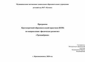 Программа КОП) по направлению «физическое развитие» «Тренажёрики»