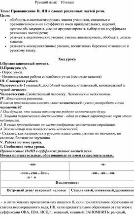 Правописание Н, НН в словах различных частей речи.
