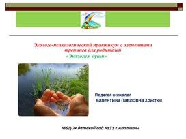 Эколого-психологический практикум с элементами тренинга для родителей                              «Экология  души»