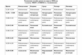 Расписание доя дистанционного обучения учащихся