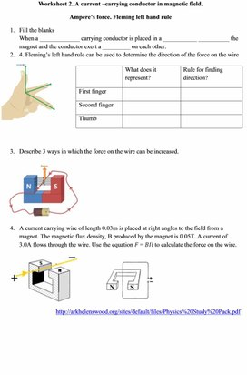 Worksheet 2. Ampere  force.