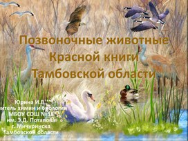 """Презентация к уроку экологии """"Позвоночные животные Красной книги Тамбовской области"""""""