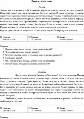 Учебные тексты проверочных работ по технике чтения 3 класс (II полугодие)