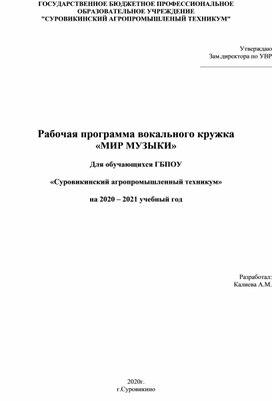 """Рабочая программа вокального кружка """"Мир музыки"""""""