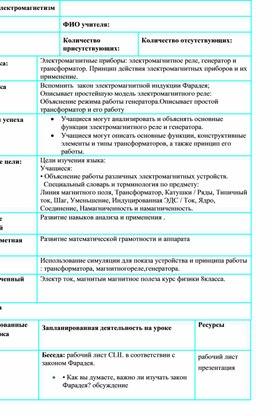 Поурочный план №1 -Электромагнитные приборы-10 (2)