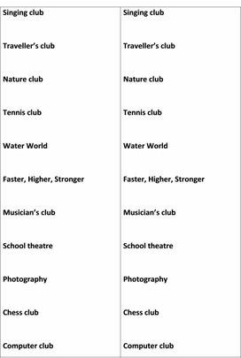 """Разработка урока для 5 класс по теме: """"School club"""""""