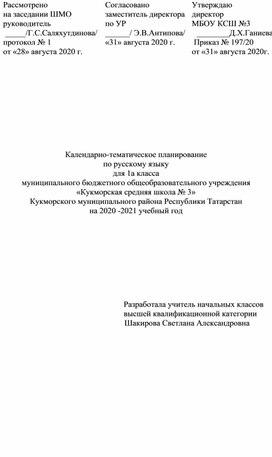 Календарно-тематическое планирование по русскому языку для 1 класса