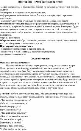 """Викторина """" Моё безопасное лето"""""""