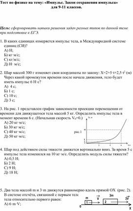 Тест по физике на тему: «Импульс. Закон сохранения импульса» для 9-11 классов.