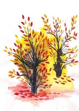 Осенний пейзаж.Кляксография
