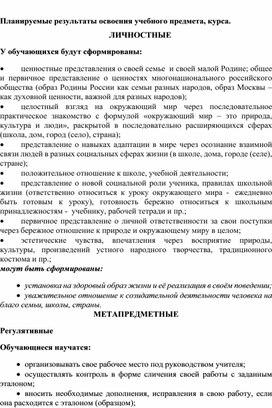 """Рабочая программа и календарно-тематическое планирование по окружающему миру 1 класс """"Перспектива"""""""