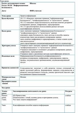 Информатика_10 класс_Периферийные устройства_План урока