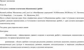 """Разработка урока по теме: """"Сложение и вычитание дробей"""" 6 класс ФГОС"""