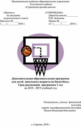Дополнительная образовательная программа для детей школьного возраста по баскетболу.