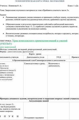 ТЕХНОЛОГИЧЕСКАЯ КАРТА УРОКА  МАТЕМАТИКИ (1 класс)