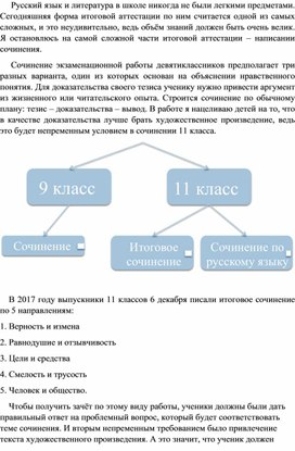 Подготовка к написанию сочинения-рассуждения (9, 11 класс, из опыта работы)