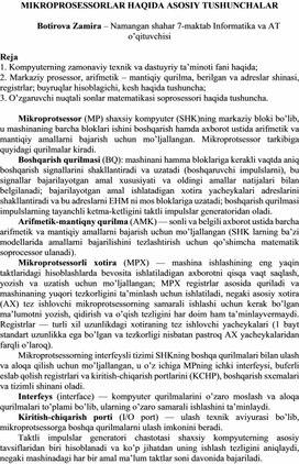 MIKROPROSESSORLAR HAQIDA ASOSIY TUSHUNCHALAR