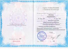 Удостоверение о повышении квалификации. Регистрационный номер 0346. Москва, 2019 г.