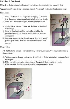 Worksheet 1.Experiment  for teacher